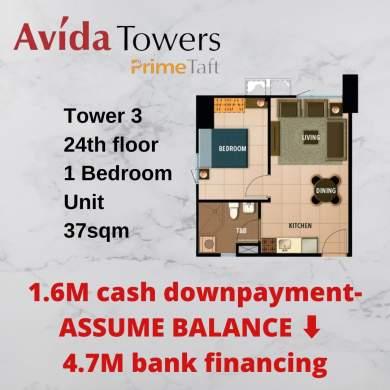 Assume Balance Avida Towers Prime Taft 1 Bedroom Unit