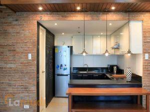 Modern Kitchen with Brick Accents
